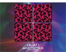 Vintage PINK Floral Pattern Coasters, 4 Piece Coaster Set