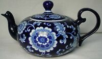 PIER 1 china MANDARIN cobalt blue TEAPOT with LID