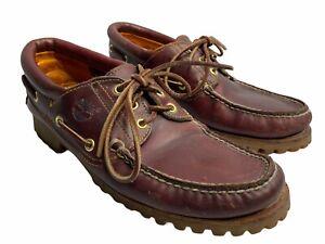 Timberland Men 9.5 M Shoes 3 Eye Classic Lug Boat 50009 Burgundy Good Condition
