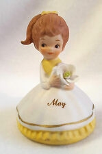 "Lefton Girl Figurine May Birthday Flower Brown Hair Ponytail Yellow Dress 3"""