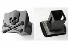 """Black Metal Skull & Crossbones 2"""" Trailer Hitch Cover Receiver New Free Shipping"""