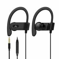 3.5mm Ear Hook Wired Sports Stereo Earphone Over Ear Earbuds Headphones w/Mic