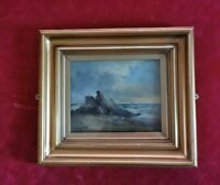 Original Antique Oil Painting Signed Gold Gilt Framed Picture. Rocks on Beach