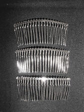 3 HAIR COMBS METAL SILVERTONE MILLINERY HEADPIECE HAT REENACTOR CIVIL WAR DRESS