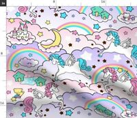 Unicorn Fairy Tale Stars Rainbow Cats Castles Fabric Printed by Spoonflower BTY