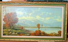 "Huge! mid century AI FERRELLI O/C landscape,hills,trees 56""x32"" imprssionistic"