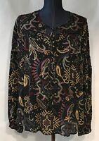 Miss Me Women's Paisley Print Elastic Cuff Tie Neck Long Sleeve Top Size Lg