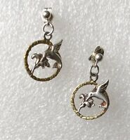 Vintage Sterling Silver 925 Hummibird & Flower Filigree Dangle Stud Earrings