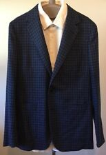 NWT Caruso Blue Check Wool Cashmere Blend Sport Coat 38R (US) 48 (EU)