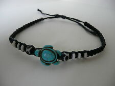 NEW BRACELET black cotton blue turquoise turtle wood beads men women surf beach
