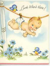 VINTAGE BABY DIAPER BLUEBIRD FLOWERS BIRTH ANNOUNCEMENT GREETING CARD ART PRINT