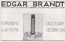 PUBLICITE  DESIGN  EDGAR BRANDT LUMINAIRE LUSTRE ART DECO  AD  1929 -1H