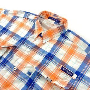 Columbia PFG Men's Nylon Super Bahama L/S Button Shirt Blue/Orange Plaid • XL