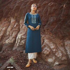 Women Fashion Embroidery Rayon Tunic Kurti Suits Pakistani Salwar Kameez Dresses