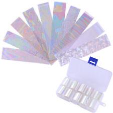 10Pcs/Box Holographic Nail Foil Transparent AB Color Nail Art Transfer Stickers