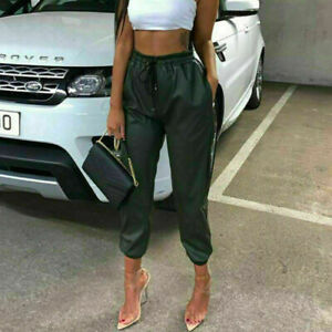 Womens Faux Leather look High Waist Joggers Ladies Jogging Bottom Trousers Black