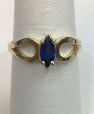 14K Yellow Gold Marquise Sapphire Ring Size 7