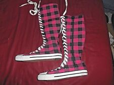 WOMEN'S PINK PLAID KNEE HIGH SNEAKERS W8006 SIZE 8 REGULAR