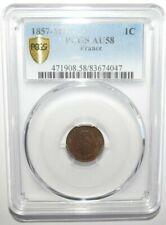 1857 -MA FRANCE UN CENTIME 1C PCGS AU58 MARSEILLE NAPOLEON <KM#775.6>