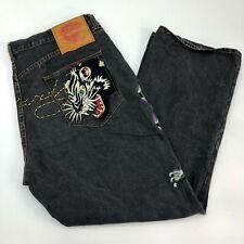 Ed Hardy Denim Jeans Mens 44X32 Gray Straight Leg Embroidered Lion RARE