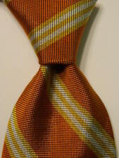 BREUER Men's 100% Silk XL Necktie ITALY Luxury STRIPED Orange/Yellow/White GUC