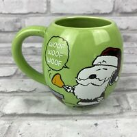 Peanuts Snoopy Santa Woodstock Green Christmas Coffee Mug Charles Schulz