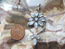 June Birthstone Sterling Silver & Blue Effect Moonstone Flower Pendant