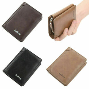 Men Leather Large Capacity ID Card Wallet Trifold Buckle Coin Purse Money Clip