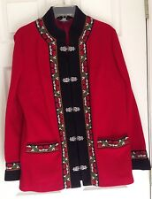 FJORD FASHION (by A.S. Evebofoss, Norway) RED WOOL JACKET, Ladies EU 44 = US 14