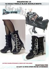 "Dollsfigure 1/6 Scale Female Black Buckle Boots For 12"" Phicen HT Verycool Body"