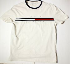 Tommy Hilfiger Logo Spell Out T Shirt Size retro Large white authentic DEFECTS