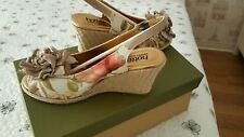 NEW HOTTER GABY BEIGE SUEDE LEATHER FLORAL WEDGE SLING BACK SHOES SANDALS SIZE 4