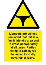 A5 Swimming Pool No Thongs Sign - Hotel Spa Love Club Health & Safety Island