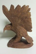 "Perched Eagle on Pedestal Hand Carved Single Piece Wood Folk Art 8"" Tall"