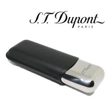 S.T. Dupont Cigar Case - Metal & Black Leather - For 2 Cigars Double ST