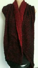 New style Chunky knit wool blend Coverup wrap bodywarmer poncho black with red