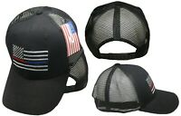 Black MESH USA Thin Red Blue Line Low Profile Hat Baseball Support Police + Fire