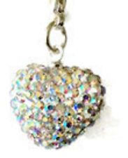 SPARKLY SHAMBALLA AB CLEAR CRYSTAL 15mm HEART CLIP ON CHARM - APRIL BIRTHSTONE