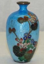 """Antique Japanese 3.75"""" Floral Blue Ginbari Foil Cloisonne Miniature Vase Japan"""