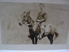 RARE Vintage Real People Photo Post Card Man On Horse White Border No Stamp Box