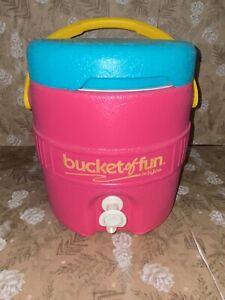 Vintage Igloo Bucket of Fun Water Cooler Jug 1990's Teal Pink Blue 1 Gallon