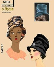 "Vintage 50s oByze 500a Sewing and Knitting Hat Pattern size 21"" - 23"""