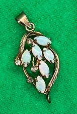 Vintage 6 Opal Pendant Necklace Sterling Silver Rhinestone