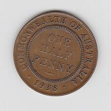 1938 AUSTRALIA KGVI HALFPENNY - VERY NICE COLLECTABLE COIN