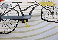 Danica Studio Fabric Shower Curtain Bicycle Stripe Pattern Modern Loft Design