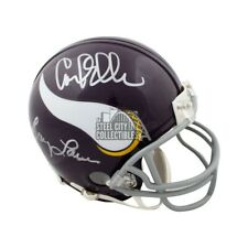 Purple People Eaters Autographed Vikings Throwback Mini Football Helmet JSA COA