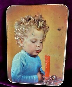 Meredith & Drew Vintage Biscuit Tin Child Blowing Candle 21 x 15cm