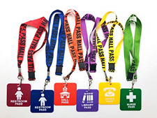 Giftexpress Hall Pass Lanyards and School Passes Set of 6 New