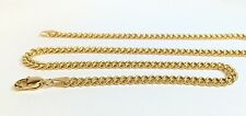 18k Solid Yellow Gold Italian Flat Curb/Link Unisex Chain Necklace,22in 8.1Grams