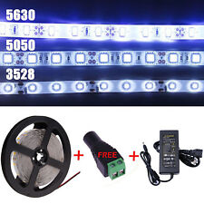 5M SMD 3528/5050/5630 300LED Pure/Warm White Strip Light Waterproof+Power Supply